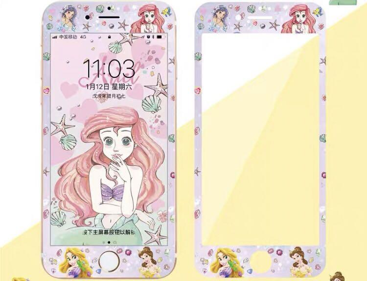 新款 iPhone 軟邊 鋼化玻璃 卡通Mon貼 duffy 美人魚公主 chip'n'dale