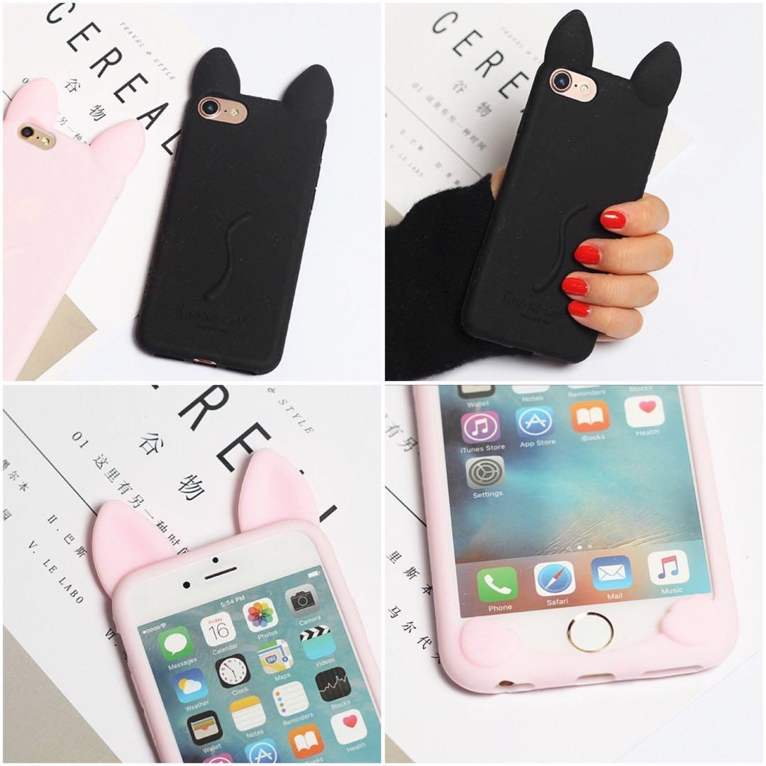 Black silicon cat iphone case