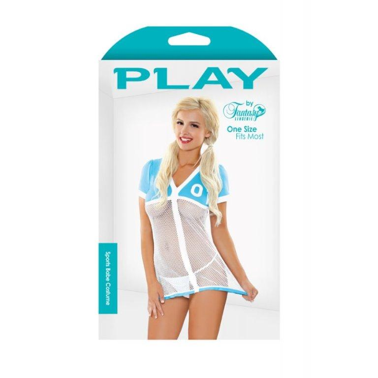 Boxed White/Blue Net Jersey + Sport Socks + Thong One Size