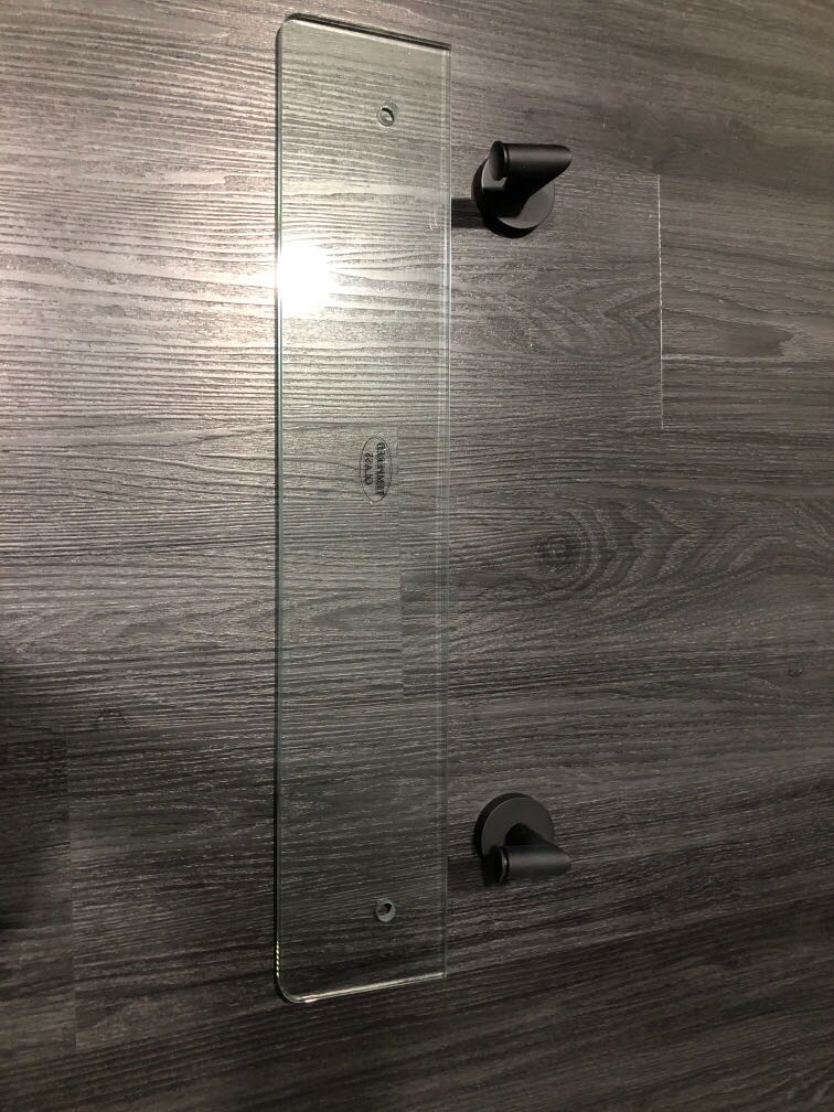 Brand new tempered glass shelf with black connectors