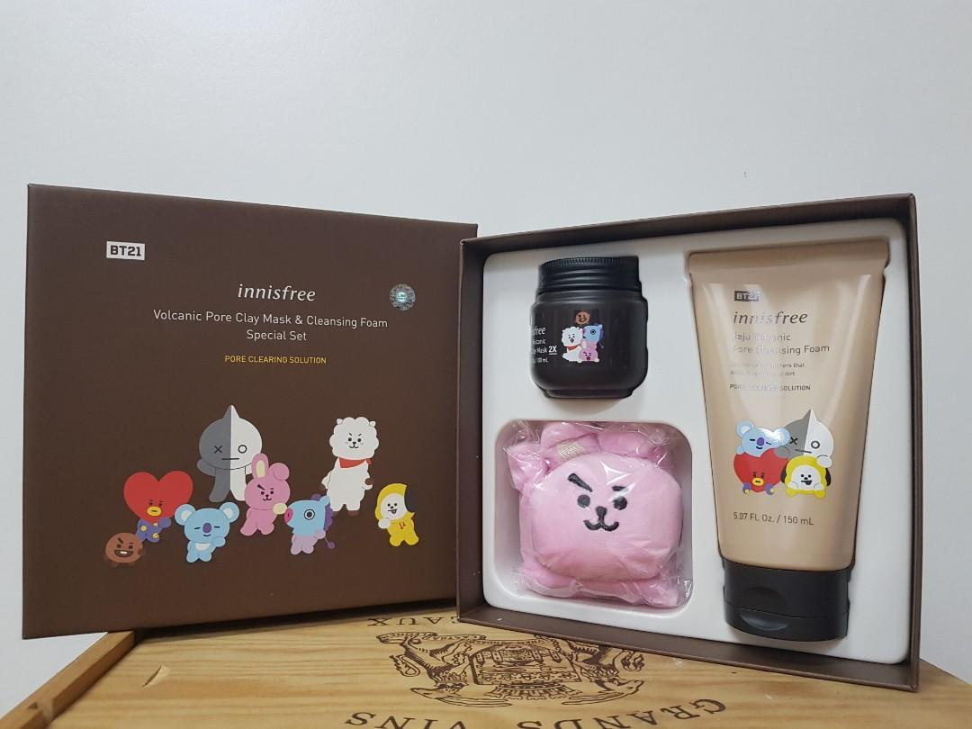 BT21×INNISFREE volcanic pore clay mask cleansing foam special set