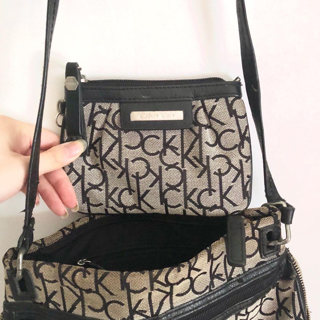 Calvin Klein beige and black crossbody bag & pouch