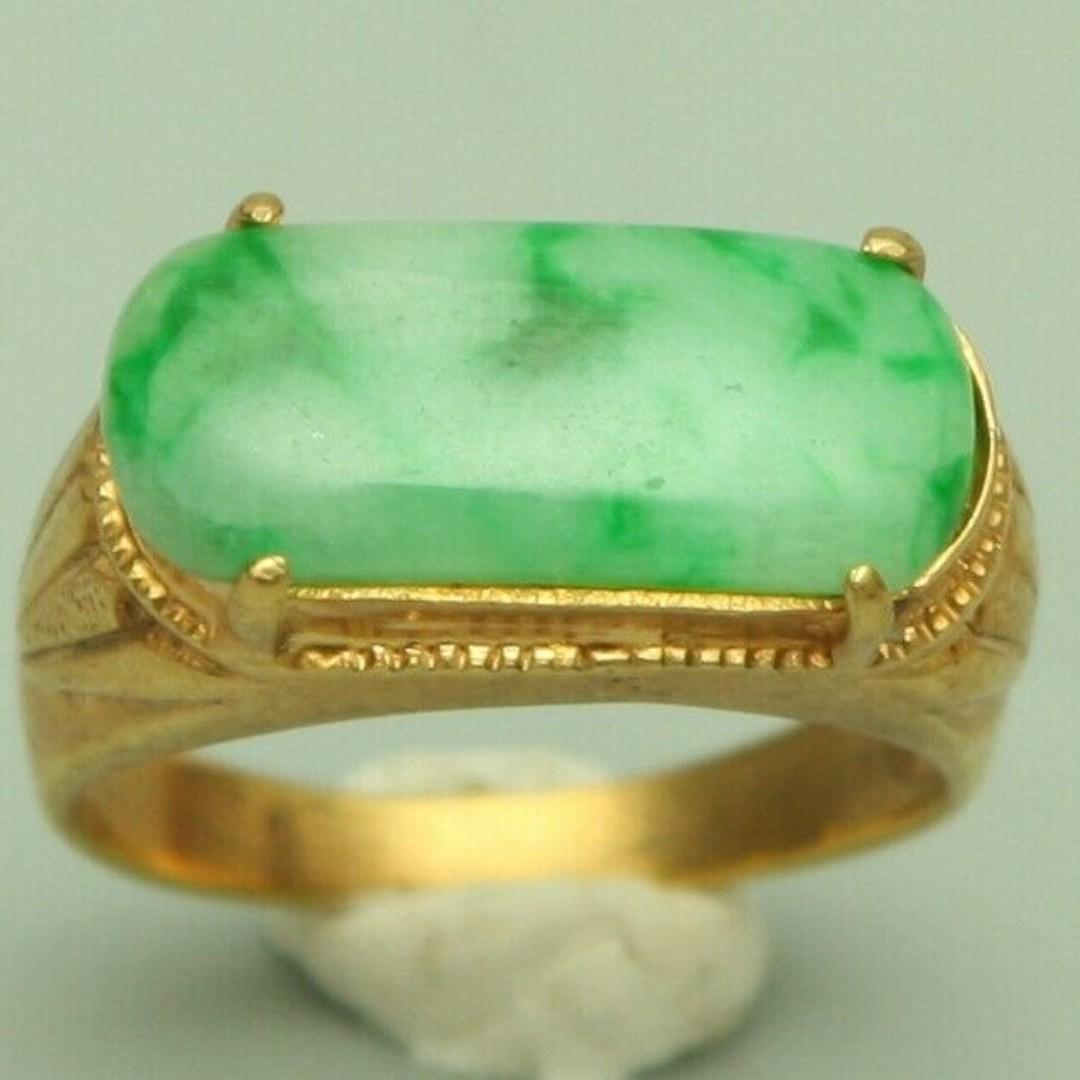 Cert'd Genuine Untreated Green A Jadeite Jade 925 Silver US 6 Ring z71081H