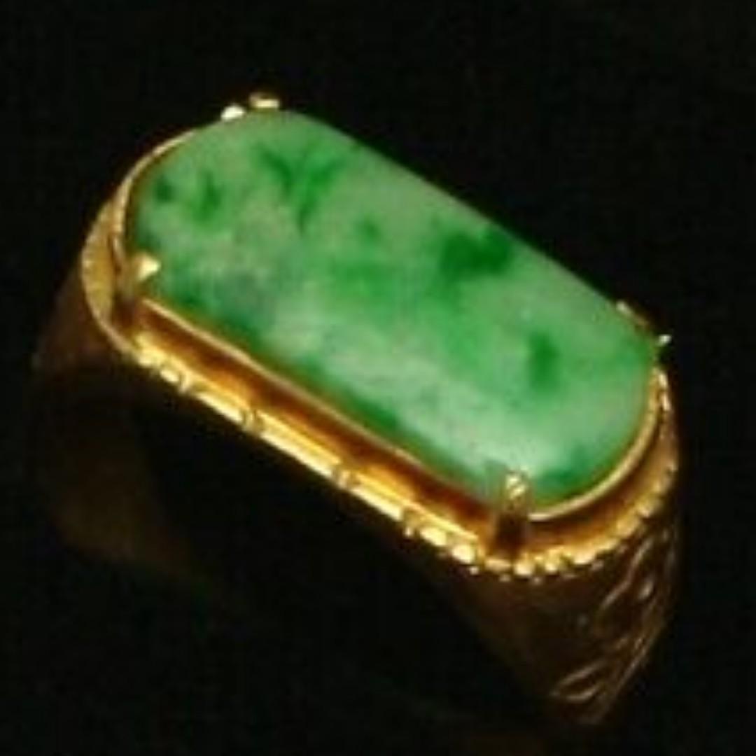 Cert'd Genuine Untreated Green A Jadeite Jade 925 Silver US 7 Ring z71111H