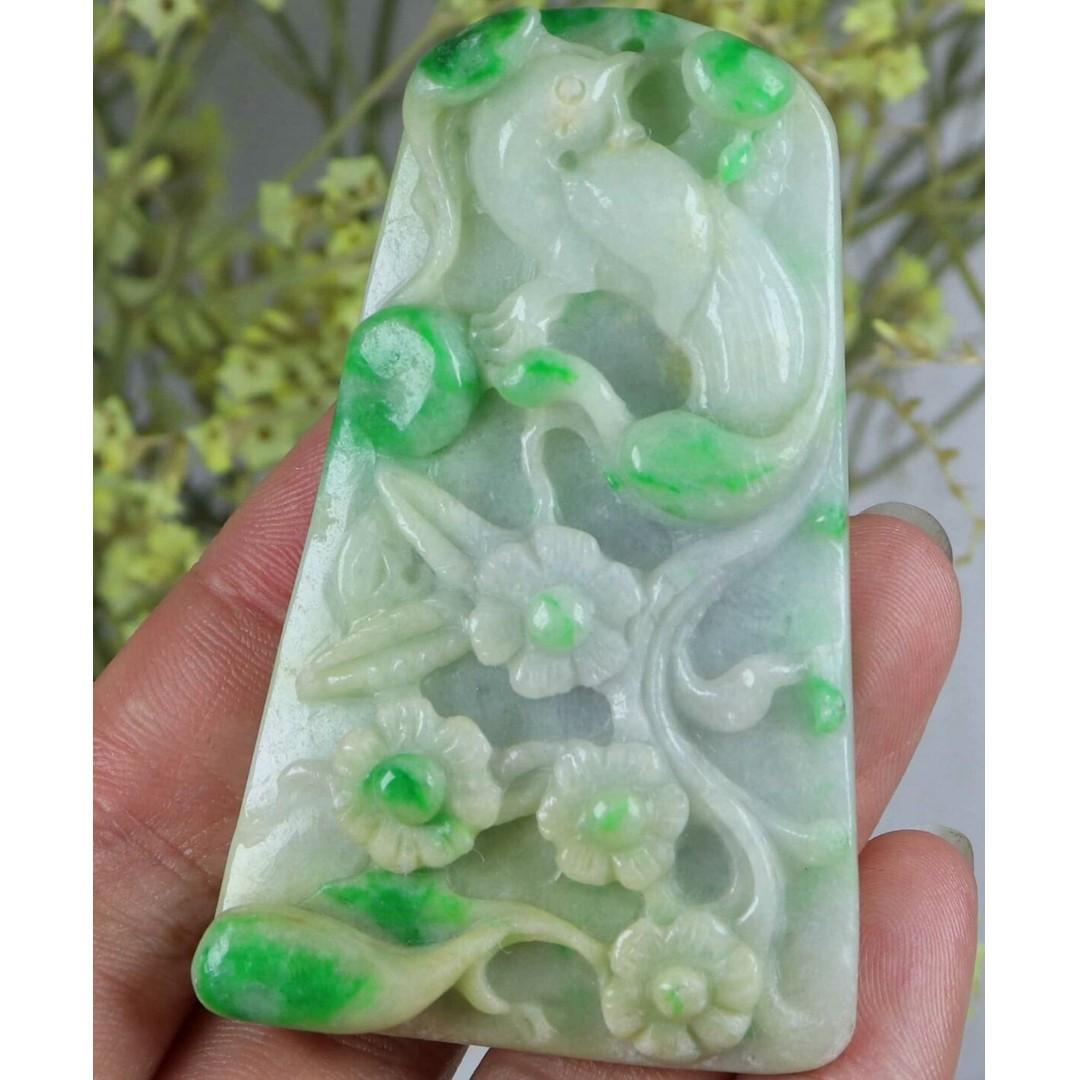 Cert'd Green 100% Natural A Jade jadeite Magpie Plum blossom Pendant 84481H3喜上眉梢