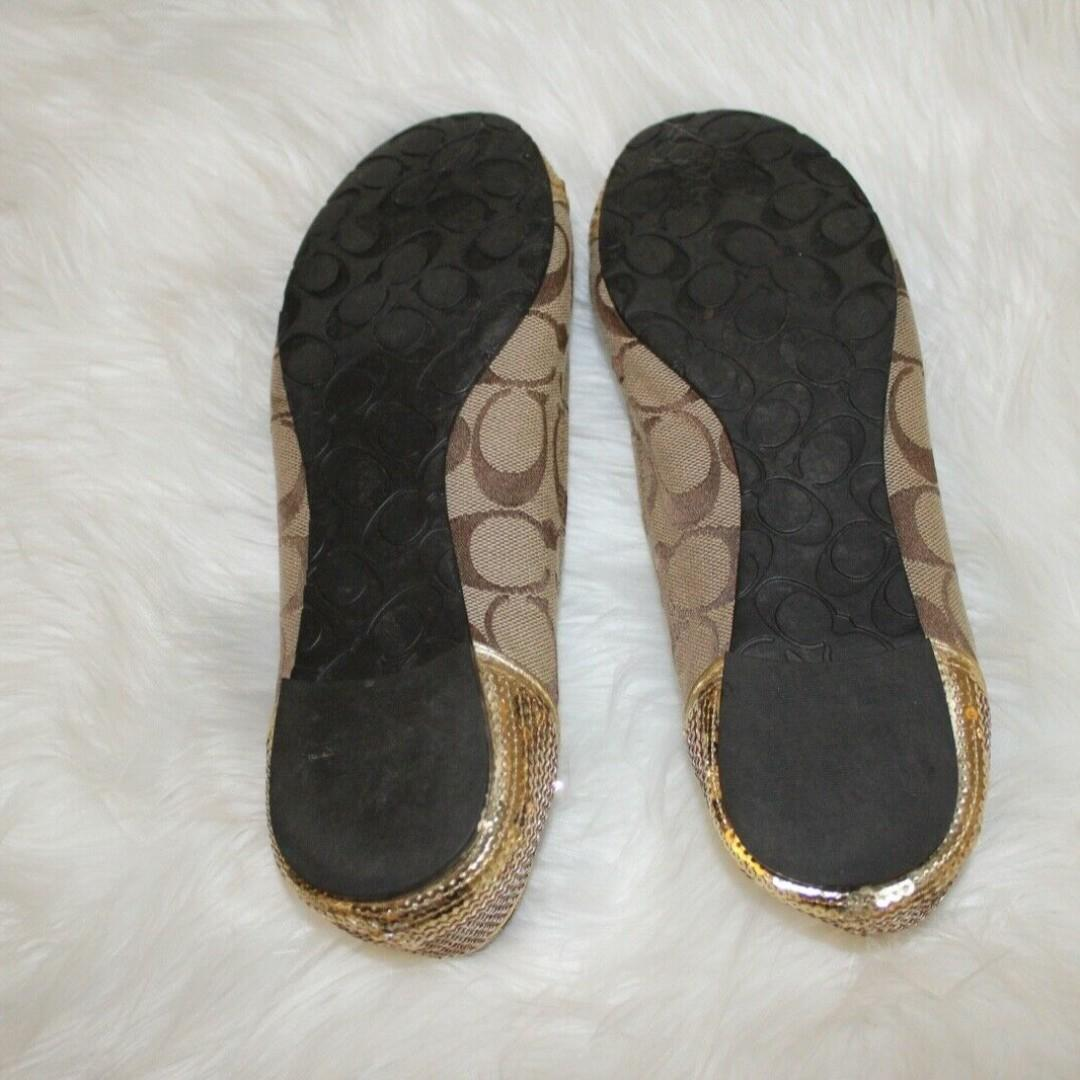 Coach Sequin Gold Cap Signature Logo Ballet Flats Women's Size: US 7.5 Medium Original Price: USD$220
