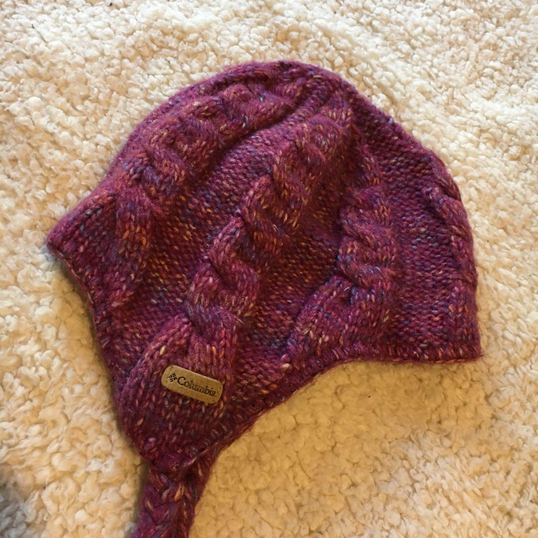 Columbia Woven Knitted Purple Speckled Beanie with Plaits