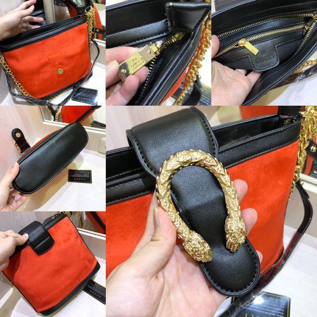 Gucci GG dionysus bucket Velvet suede orange sling bag / tas selempang semi premium murah