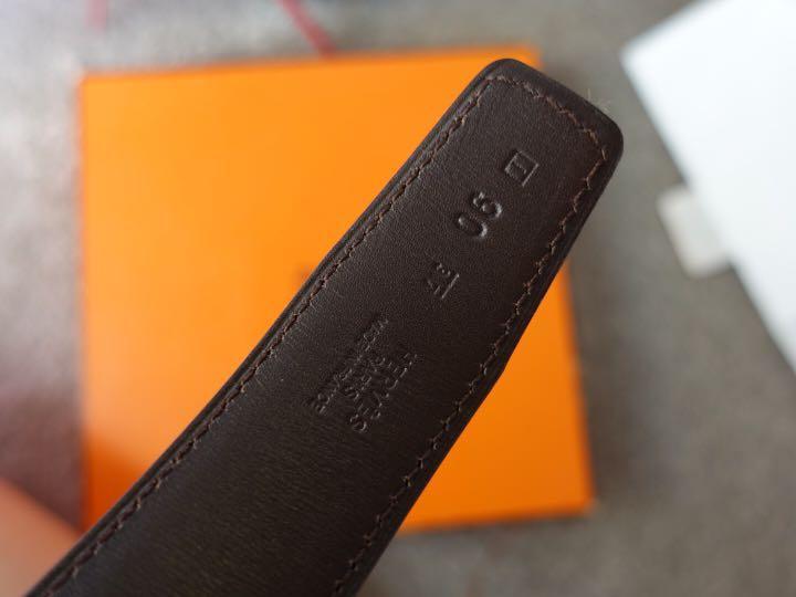 Hermès Men's Constance 32 mm H Belt 90 Black Dark Brown