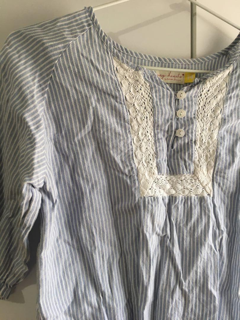 Korean fashion blouse top shirt stripe lace button blue white