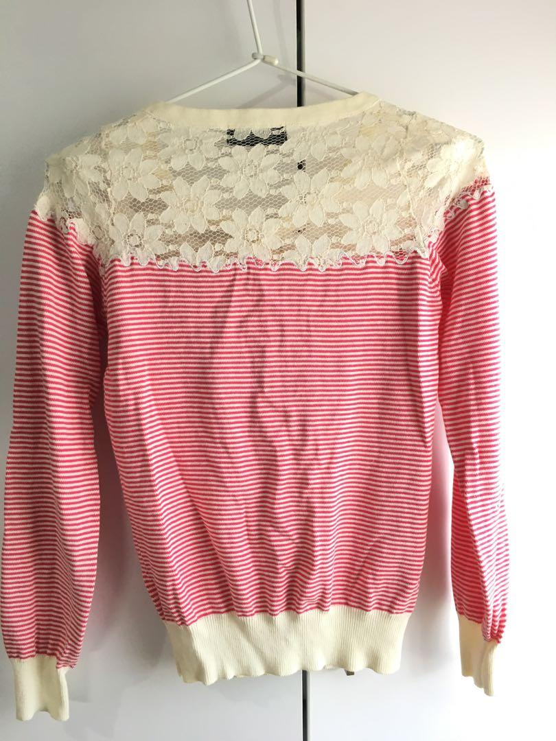 Korean fashion cardigan top stripe red cream lace button