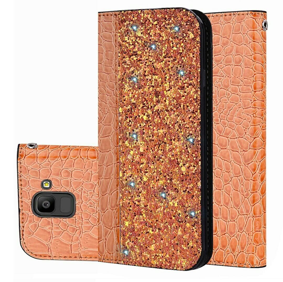 Leather Pattern Glitter Flip Case