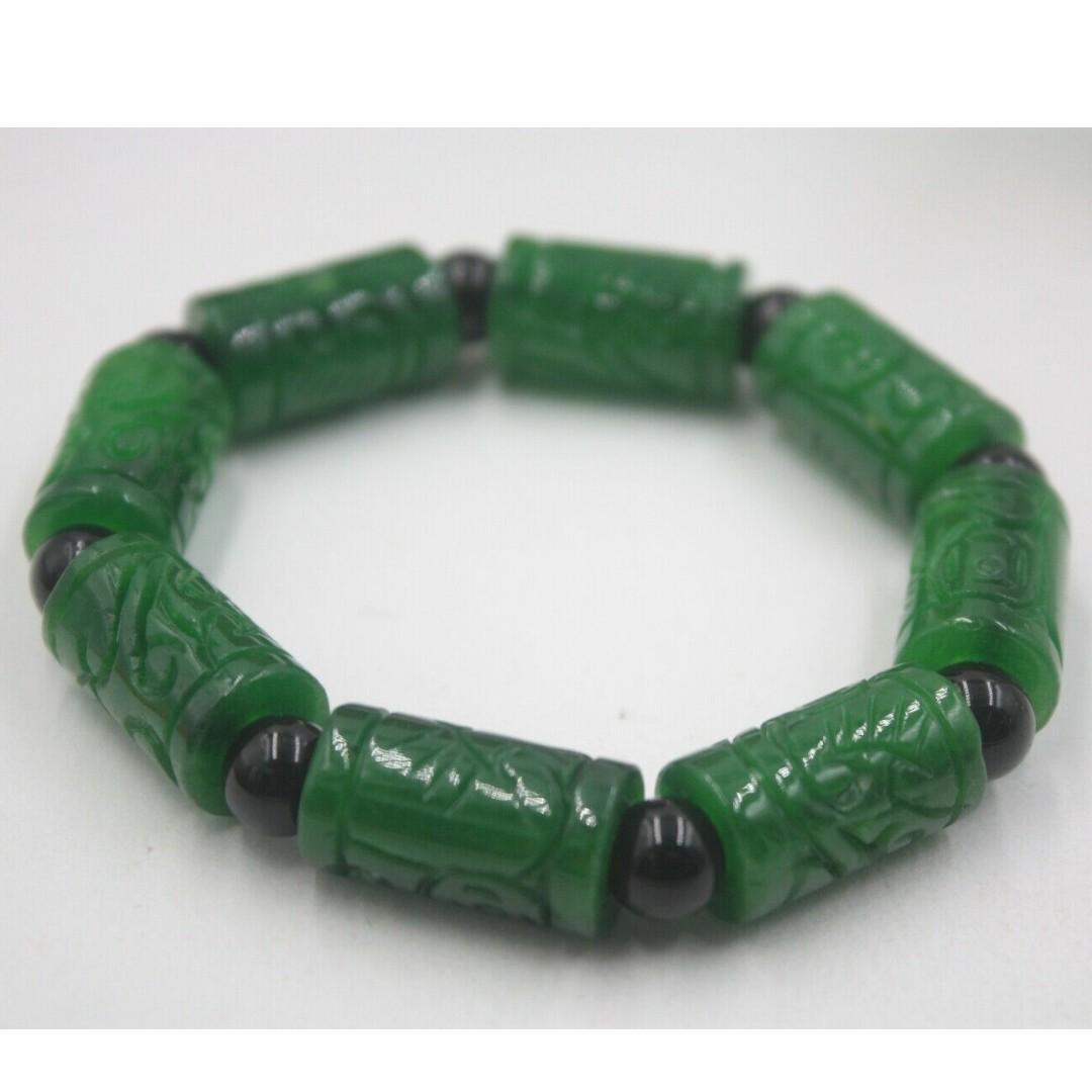 Natural Grade A Jade (jadeite) Green Coin Tube Big Bead Knitted Bracelet