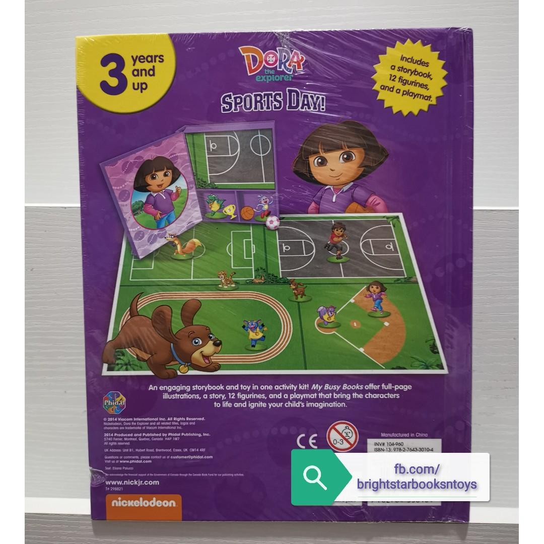 Nickelodeon Dora the Explorer Sports Day My Busy Books Story Book with Toy Figures + Play Mat