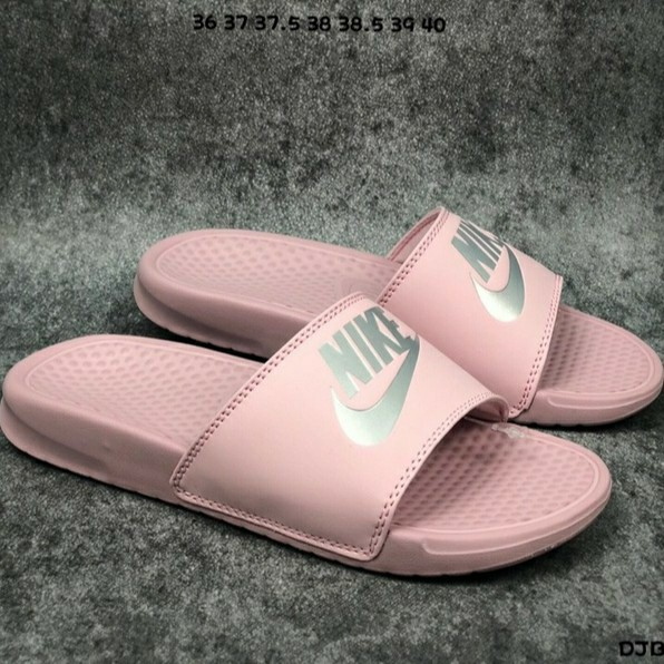 Nike Benassi Pink Slippers, Women's