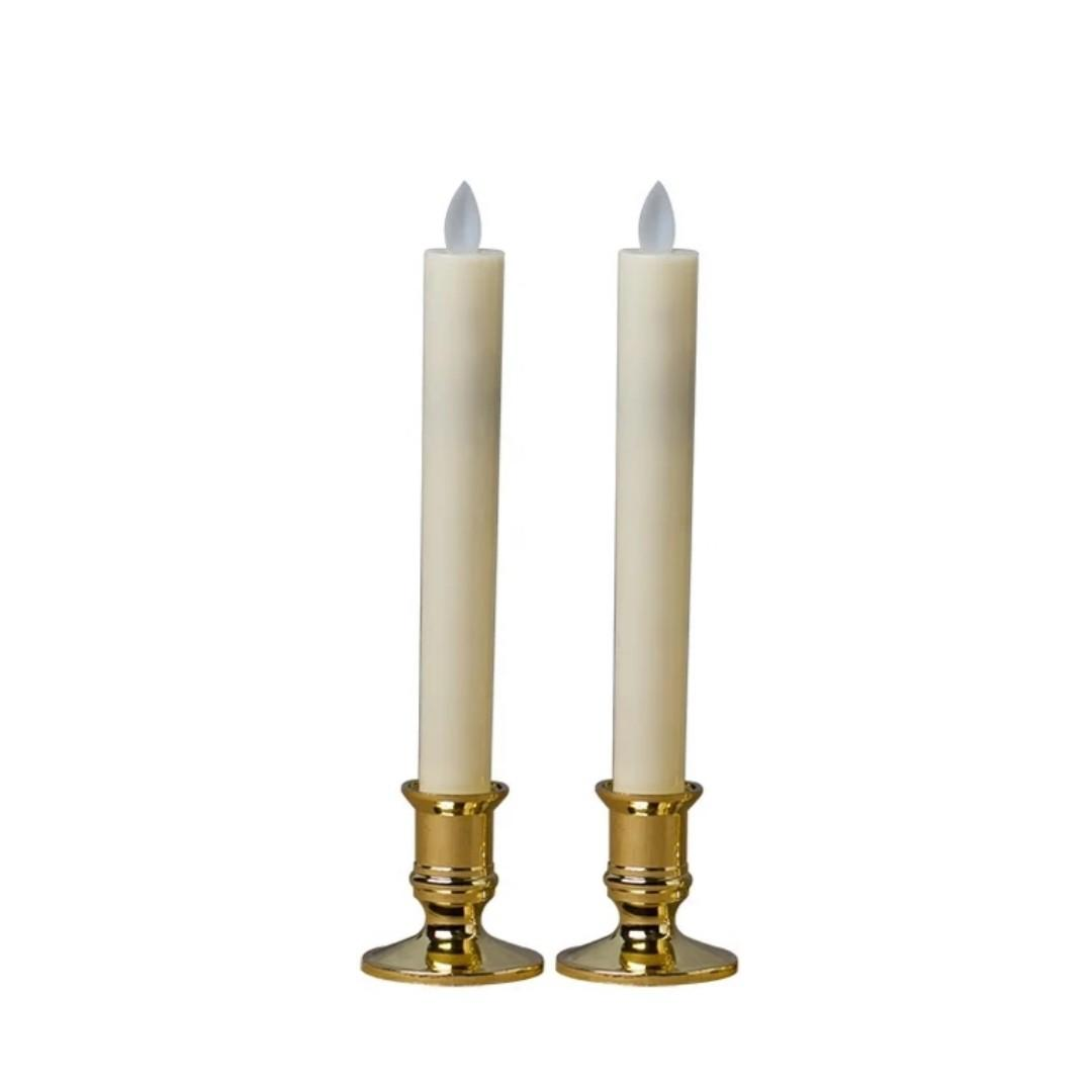 RENTAL: D173 WHITE THIN CANDLE WITH GOLD HOLDER (2 IN A SET)