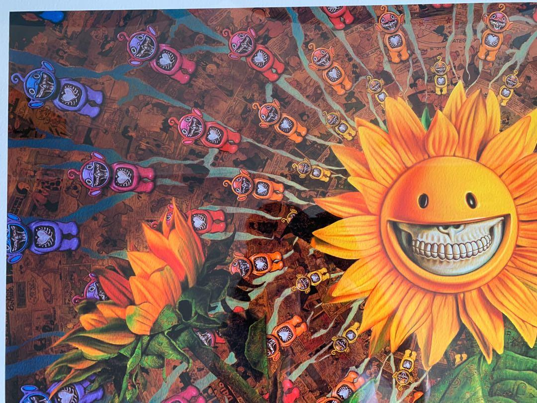 Ron English Grin Sunflowers 56/100 signed painting