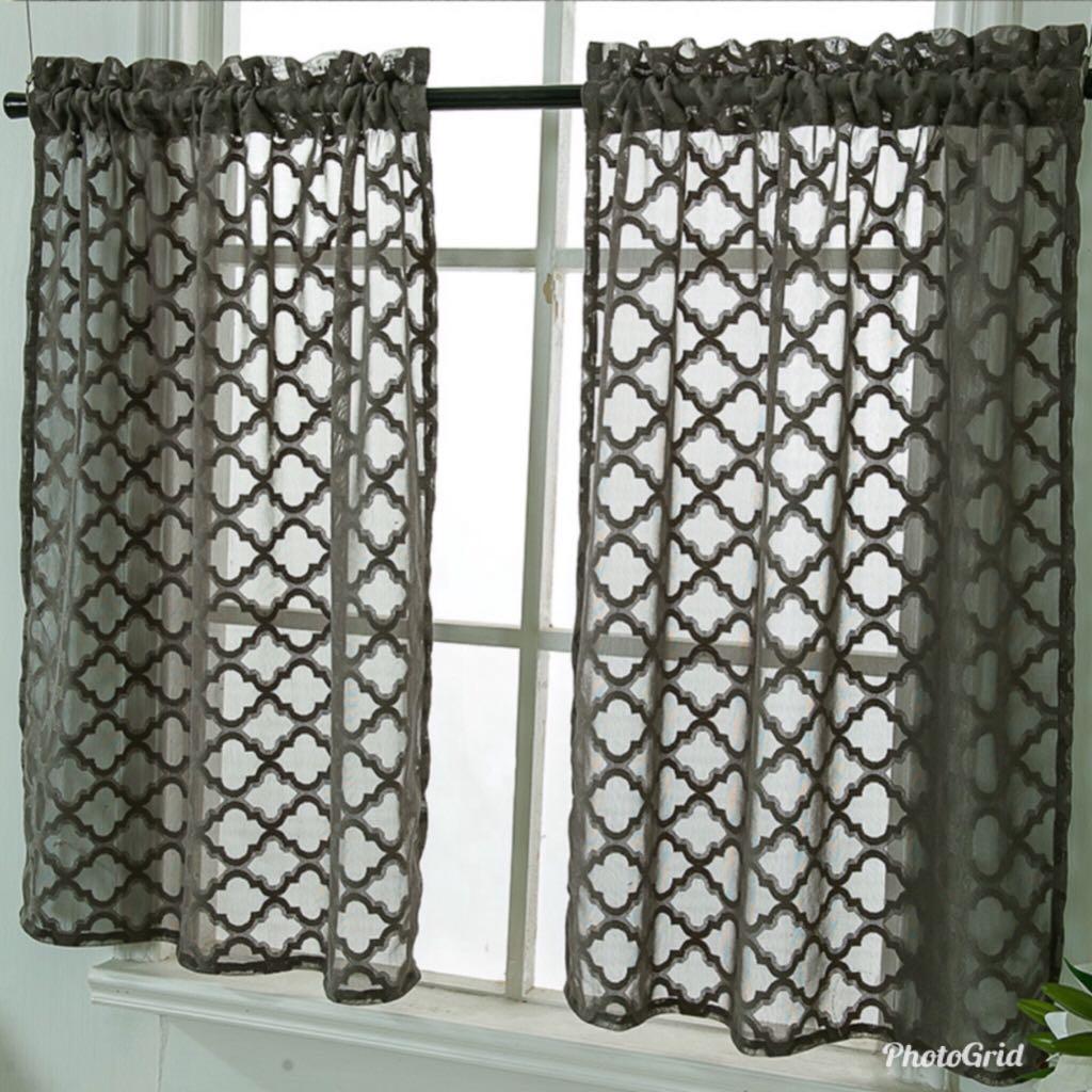 Short Curtain Dark Grey Semi Sheer Jacquard Living Room On Carousell