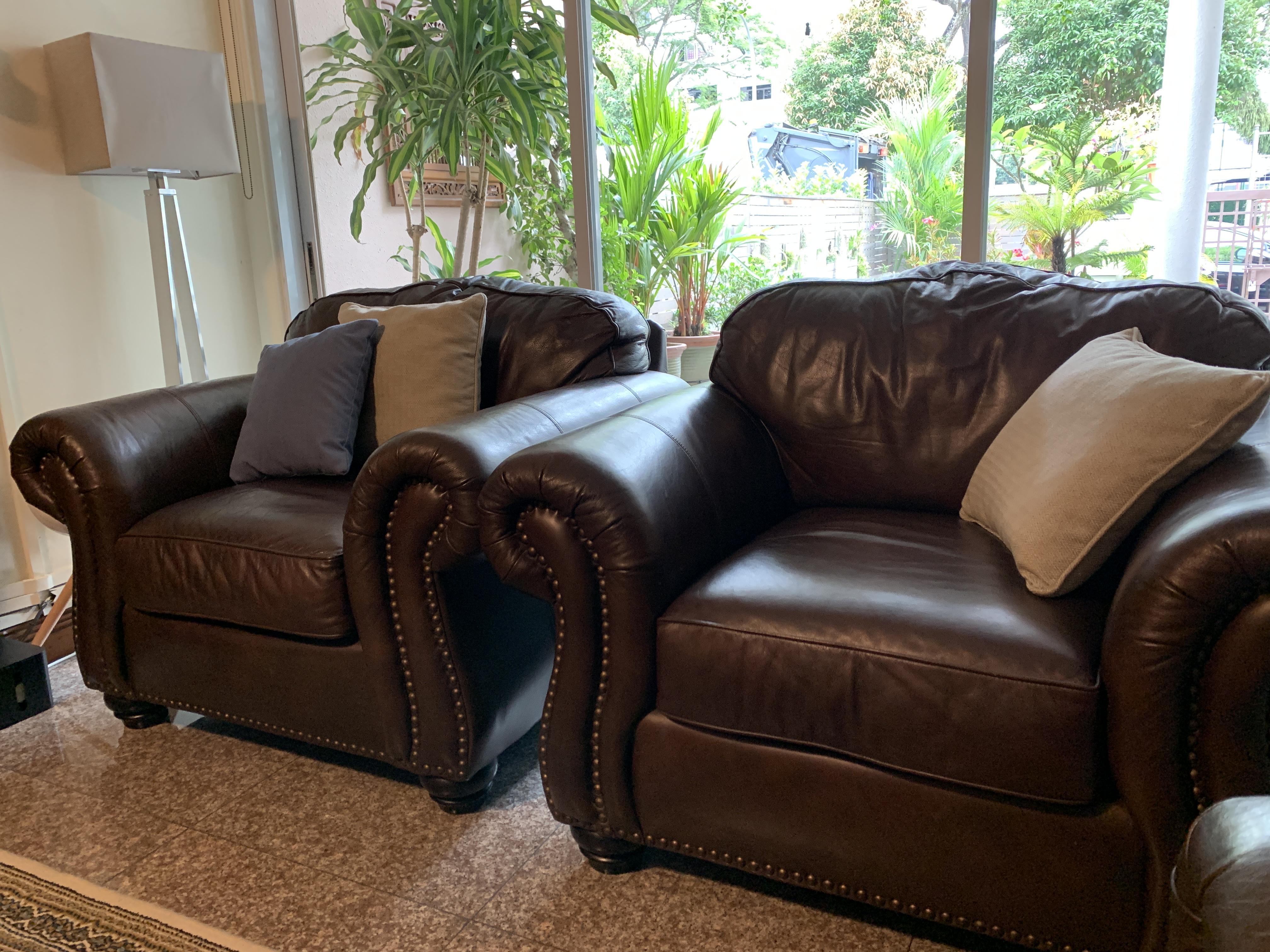 Thomasville Leather Living Room Sofa Set For Sale Furniture