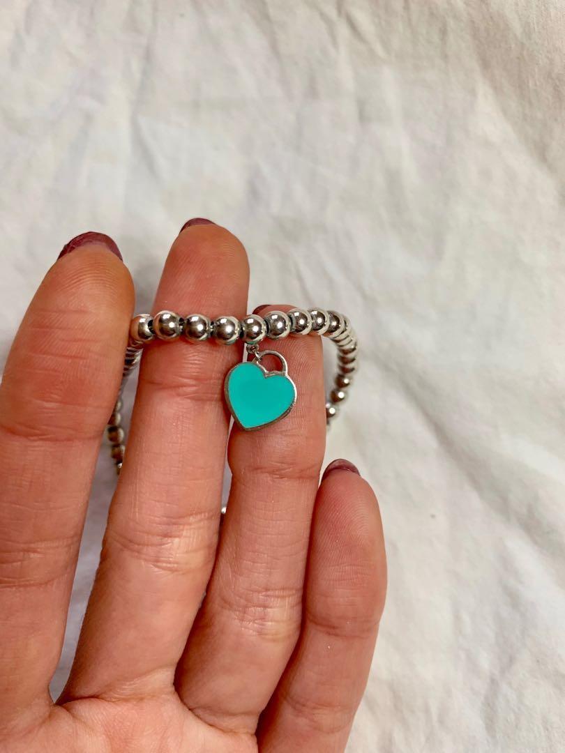 Tiffany & Co Mini Heart Tag in Sterling Silver on a Bead Bracelet