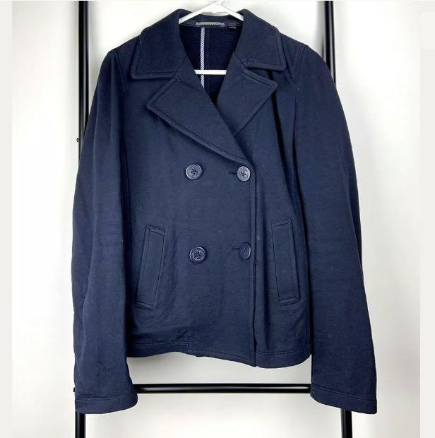Uniqlo M blue navy women coat jacket winter double breasted basic casual