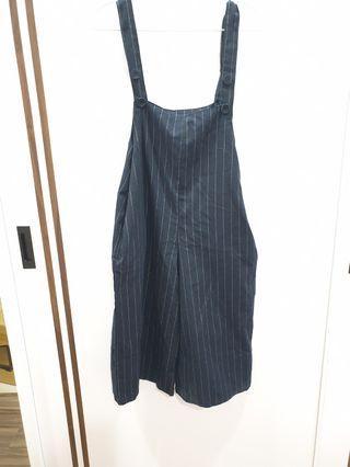 深海藍色直條紋吊帶褲