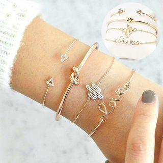 4Pcs/Set Women Girl Gold Bracelets