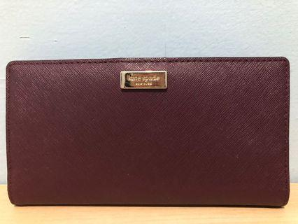 Kate Spade Wallet stacy deep plum with tag n cc