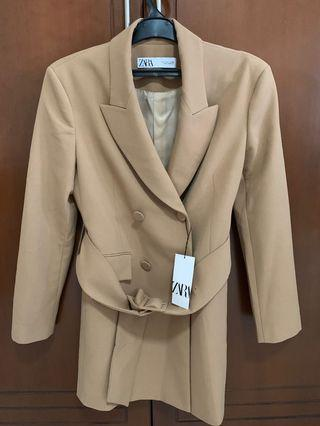Zara Double Breasted Blazer Coat with Belt