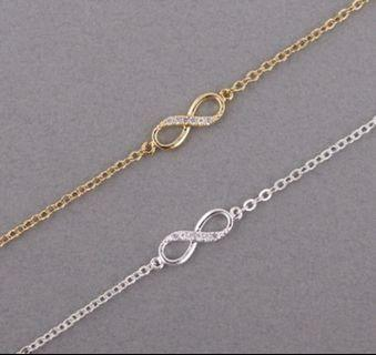 New Fashion Infinity Bracelet for Women with Crystal Stones*Infinity Number 8 Chain Bracelets