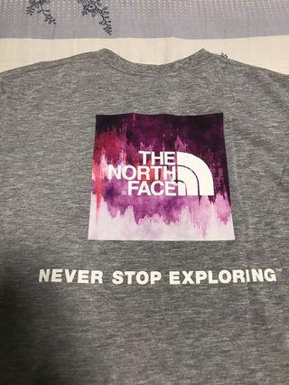 The north face 淺灰短tee