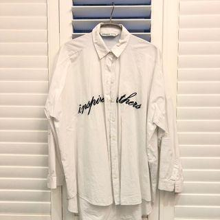 Zara 白色長版襯衫(保存良好)