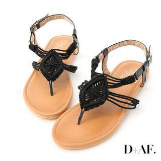 <全新轉賣>D+AF 繆思女神.精緻手工針織夾腳涼鞋*黑39號