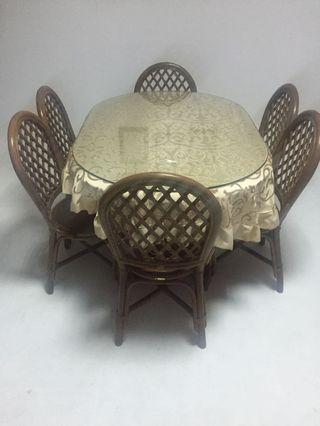 6人餐桌或會議桌+加厚強化玻璃(不含椅子)
