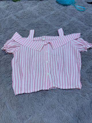 Pink white offshoulder top