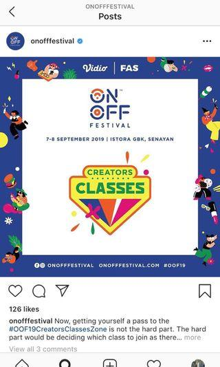 On Off Festival Classes Pass
