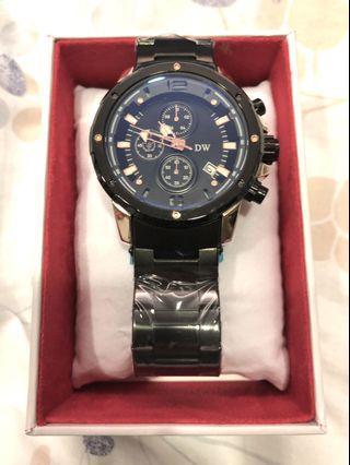 日本全新DW D3202經典真三眼不鏽鋼錶
