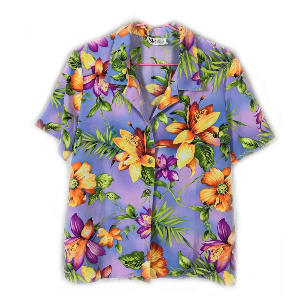 美國老品♨️粉紫色夏威夷衫♨️少見 古著 二手 復古