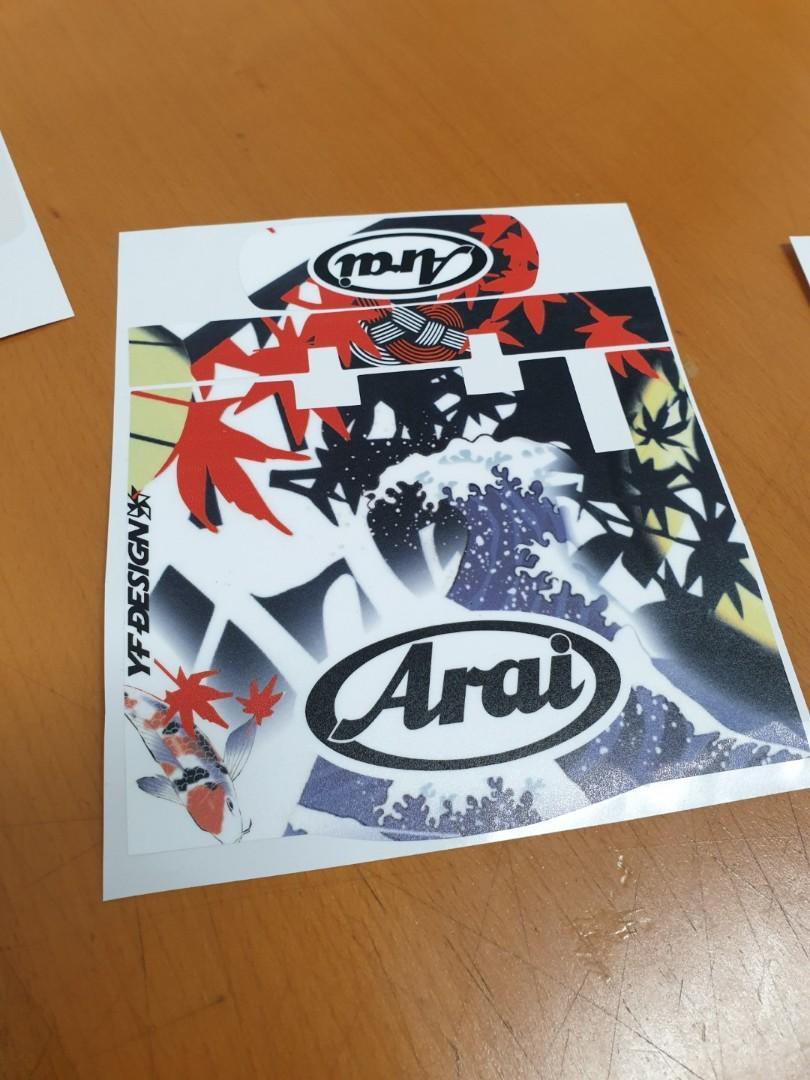 Arai decal set 11 Orange on White quality printed and laminated helmet stickers