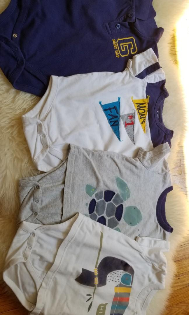 Baby Gap onesies favourites and tee onesies. Size 18-24mths. $4 each and up. Or take all 8 pieces for $22. Pick up Gerrard and main or Yorkville or 20 bay street. Purchased new for over $80!
