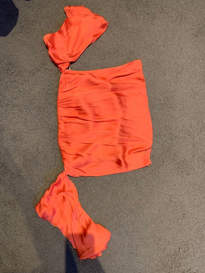 Bardot strapless tangerine top