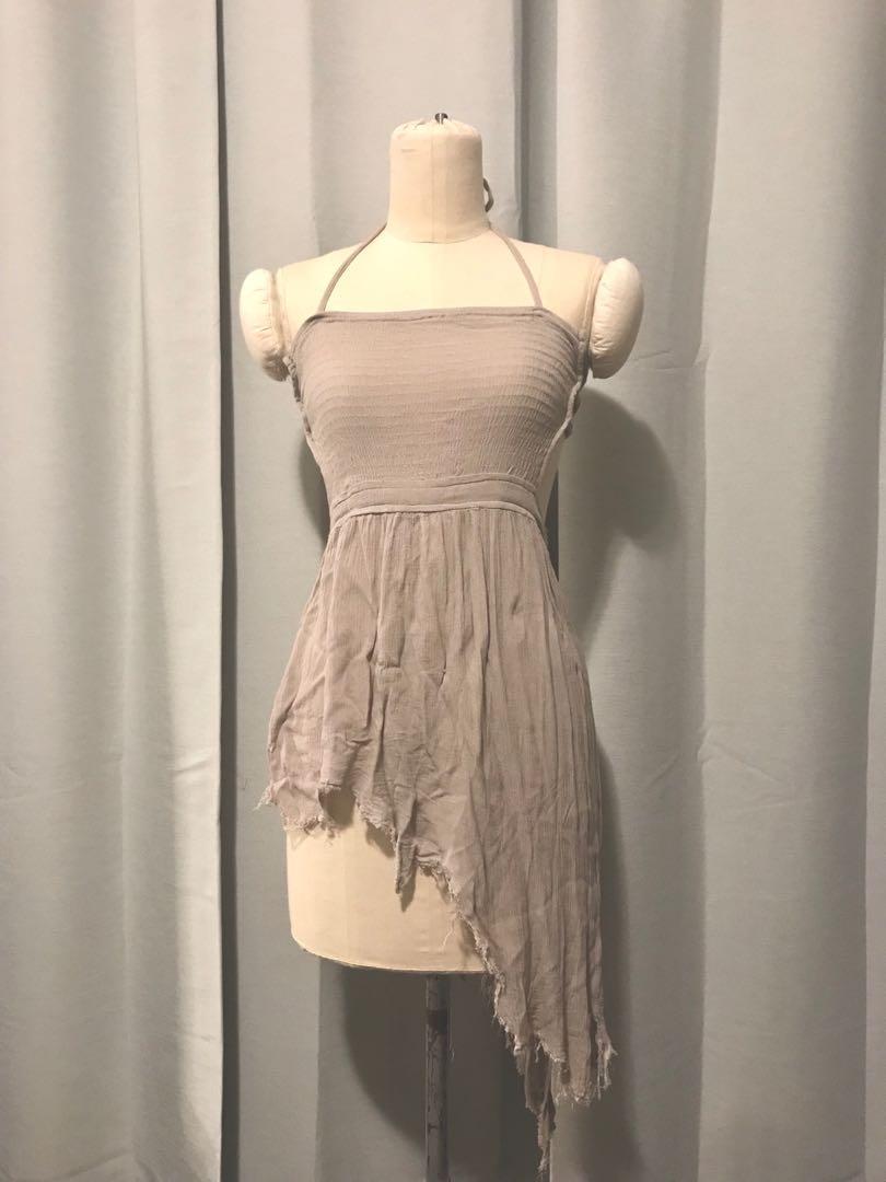 Bohemian High-Low Grey Dress