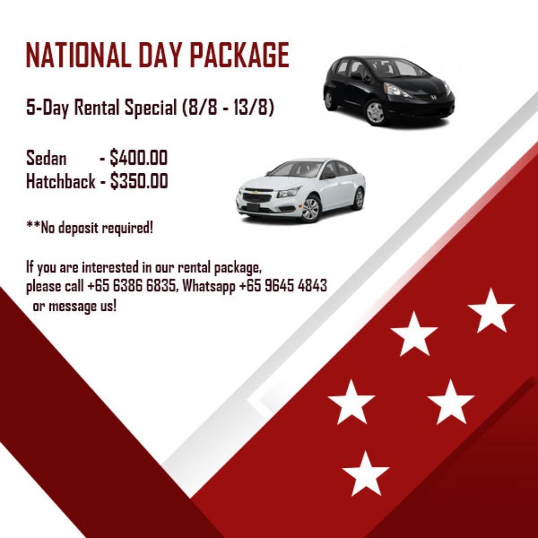 Car rental during the long weekend (8/8/19 - 13/8/19)