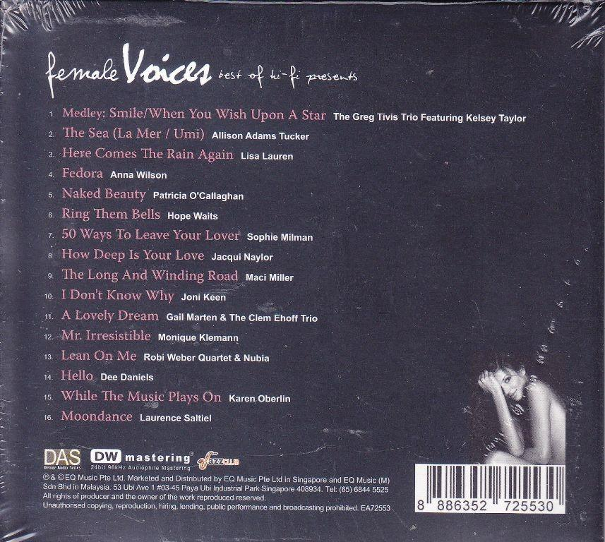 CD Best Of Hi-Fi Presents Female Voices Allison Adams Tucker Lisa Lauren Free Shipping