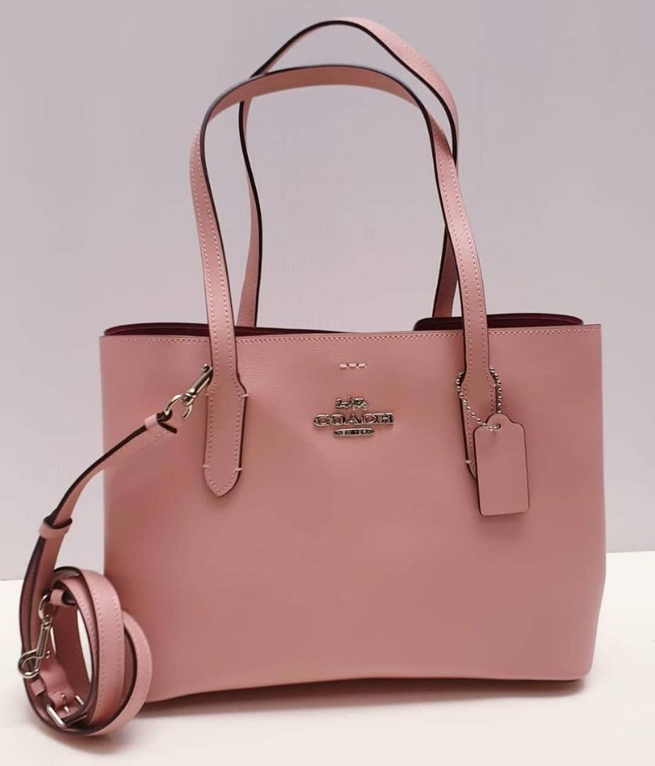 Coach Evenue Tote 35/43×28×12 Light Pink Oxblood (with long strap)