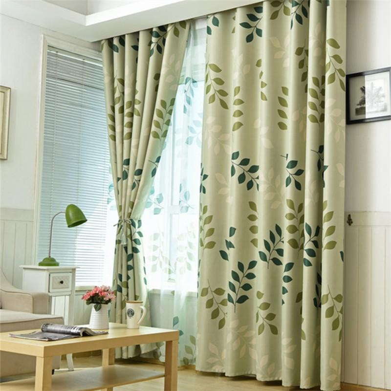 Country Style Leaf Pattern Window Curtains Finished Fabric Curtain