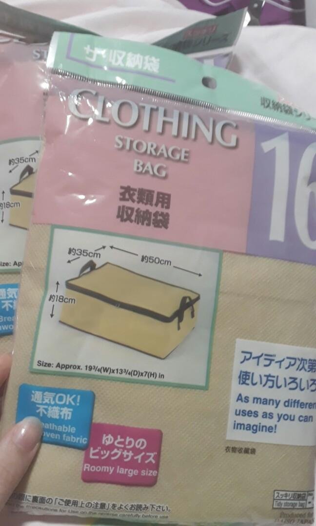 Daiso Bundle: earring case, ear caps, clothing storage bag and place mat