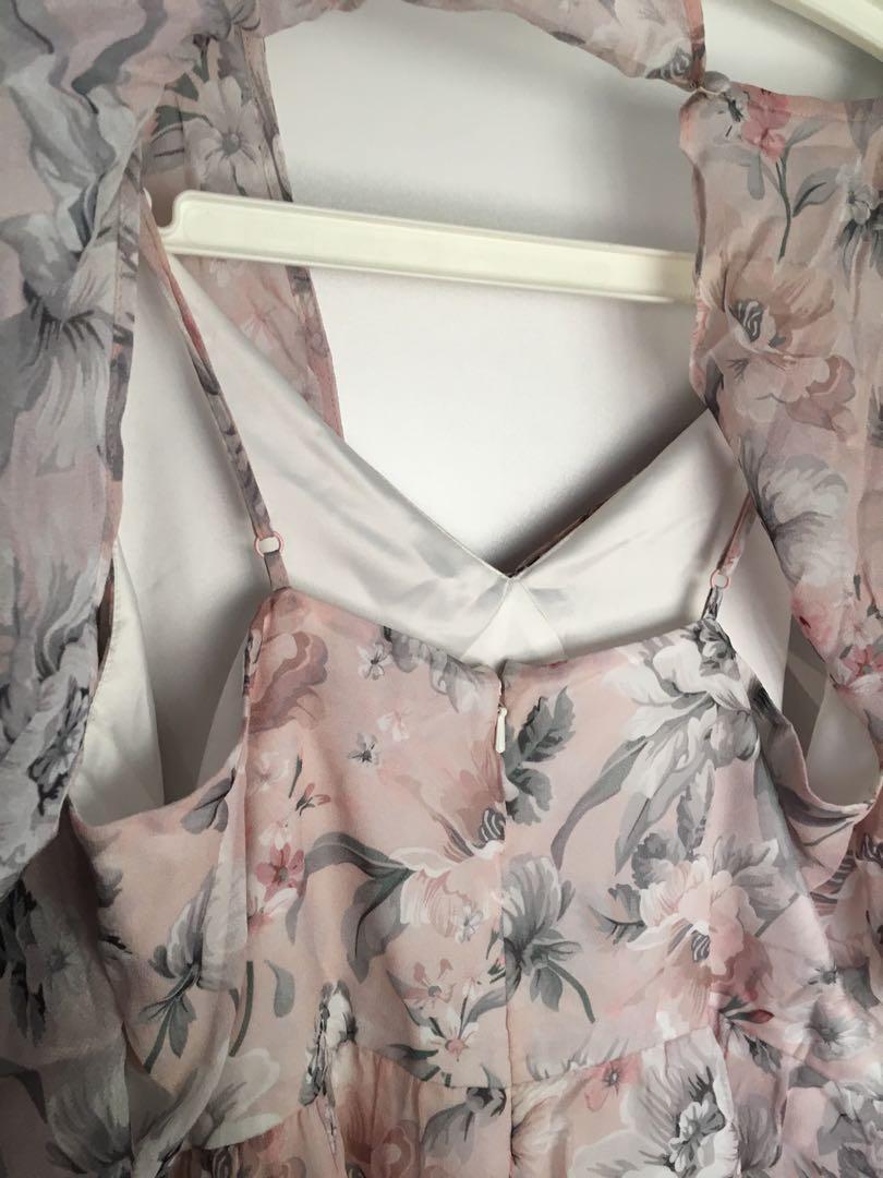 Forever New pink floral playsuit jumpsuit romper shoulder drape