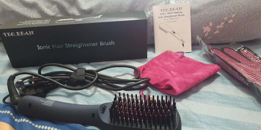 New TEC.BEAN High-Tech Ionic Hair Straightener Brush for Straightening Hair and Adding Shine, Suitable for Different Hairstyles, Anti-Scald Technology Hair Straightening Brush with Auto-off Function