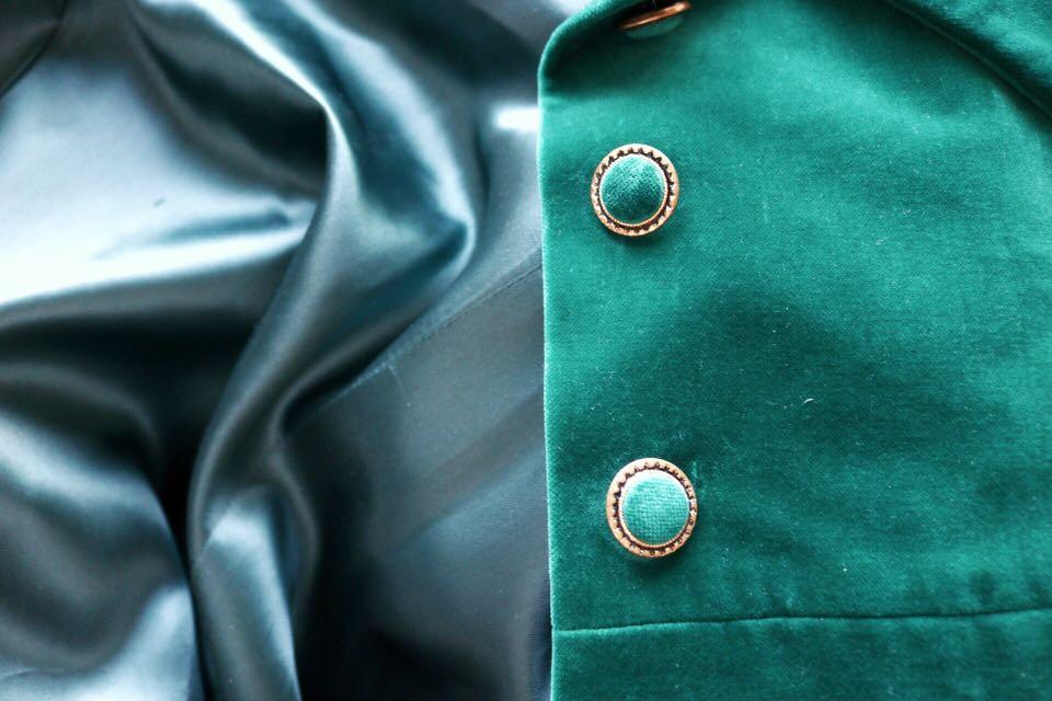 Vintage Turquoise emerald velvet coat from the 1960s